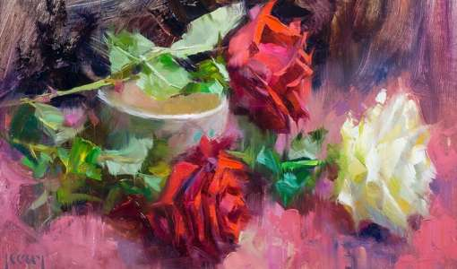 Flower painting from life in oil